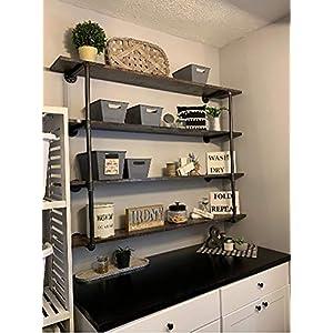 Industrial Retro Wall Mount iron Pipe Shelf,DIY Open Bookshelf,Hung Bracket, DIY Storage Shelving,Home Improvement Kitchen Shelves,Tool Utility Shelves, Office shelves, bookshelves and bookcases(2pcs)