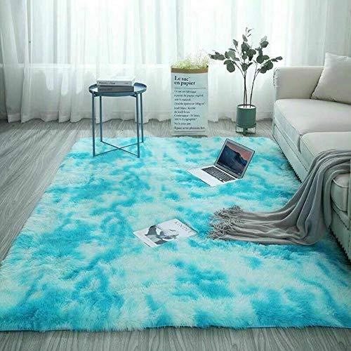 SHIYANTQ Tapis de balcon poilu en fausse fourrure Tapis de chambre à coucher doux et confortable, teint bleu ciel, 80 x 160 cm