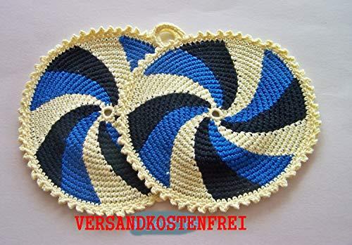 1 Paar runde Topflappen dreifarbig Durchmesser 19 cm