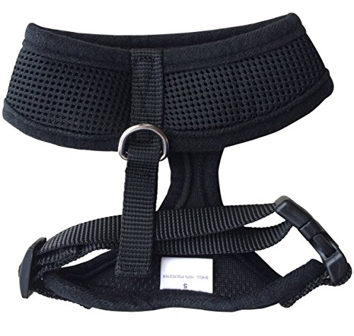 FUNPET Soft Mesh Dog Harness No Pull Comfort Padded Vest for Small Pet Cat and Puppy Black XS
