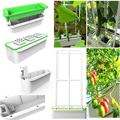 "Big Smart Hydroponics Growing System self Watering Planter with Built-in Pump and Smart Reminder 60"" Climbing Trellis Super Indoor hydroponics Growing System…"