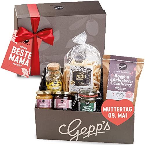Geschenkbox zum Muttertag - Gepp's Feinkost Verwöhnpaket für Frauen | Geschenkkorb gefüllt mit köstlichen Delikatessen wie Erdbeer-Champagner Marmelade, Lemon-Ingwer Tee | Muttertagsgeschenk (A0002)