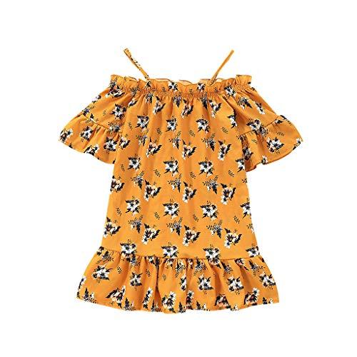 Amlaiworld ❤ Damen-Kleid, Sommerkinder pastoralen Stil kleinen frischen Riemen trägerlosen floral Rüschenrock(Gelb,3-4 T)