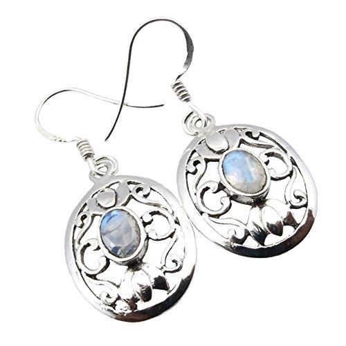 Unique Exklusive Jugendstil Damen Ohrhänger Mondstein eingefasst in 925 Sterling Silber nickelfrei 2.6 Karat Juweliers- Qualität