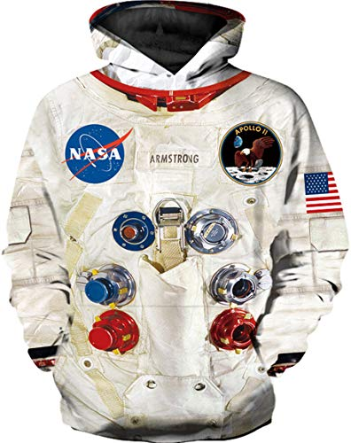 Ocean Plus Jungen Langarm Galaxis Kapuzenpullover Bunt Casual Sweatshirts Pullover mit Kapuzen Pulli für Kinder Hoodie (XL (Körpergröße: 135-145cm), Raumanzug)