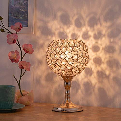 Kristall Tischlampe - Gold sphärische Nachtlichtlampe mit Metallsockel, Elegante dekorative Nachtlaterne Nachttischlampe für Wohnzimmer, Schlafzimmer, Schminktisch, Büro, Korridor