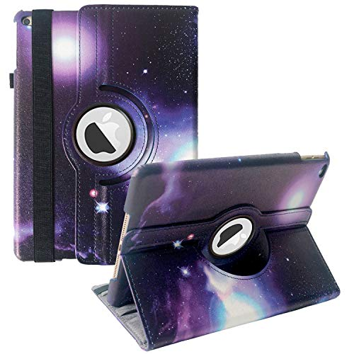 New iPad 2017 9.7' / iPad Air 2 Leather Case,360 Degree Rotating Stand Smart Cover with Auto Sleep Wake for Apple iPad Air or New iPad 9.7 Inch 2017 Tablet (Purple Galaxy)