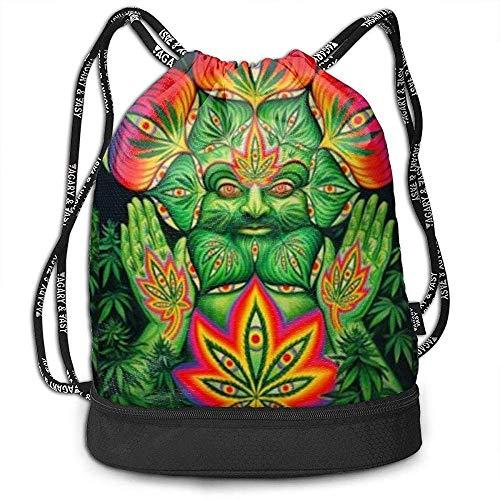 Valender Third Eye Cannabis Leaf Weed Marijuana Drawstring Bag Lightweight Beam Backpack Gym Sackpack Backpack Soccer Basketball Bag