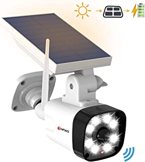 Solar Motion Sensor Light Outdoor - 800Lumens 8 LED 5W(110W Equiv.) Solar-Powered Flood Light for Porch Garden Driveway Pathway, HFWS-S1-W