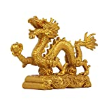 NYKK Escultura Decorativa Estatuilla de la Riqueza Golden Resin Chinese Zodiac Dragon Statue Feng Shui Home Office Tabla Top Decor Collection Decoración Escritorio (Size : Medium)