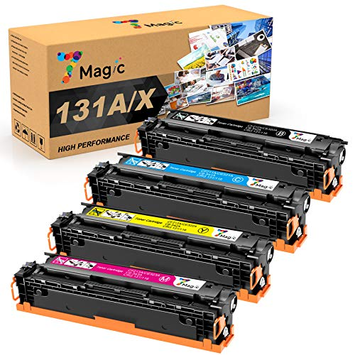7Magic Compatible Toner Cartridge Replacement for HP 131X CF210X 131A CF210A HP Laserjet Pro 200 Color MFP M276nw M251nw M251n M276n Printer CF211A CF212A CF213A (Black Cyan Yellow Magenta, 4-Pack)