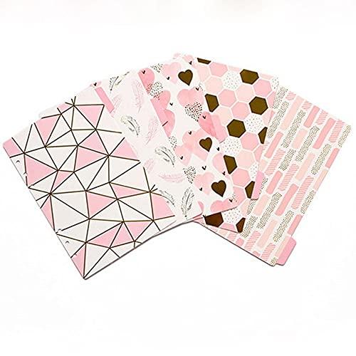 Notebook Binders Vintage Flower Loose Leaf Binders Loose Leaf Separator Page Binder Index Dividers Binder Index Page Binder(A6-Pink Geometry)