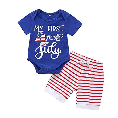 Zefeng Happy 4th of July Baby Boy Girl Outfits Bodysuit Romper+American Flag Stars Stripes Shorts...