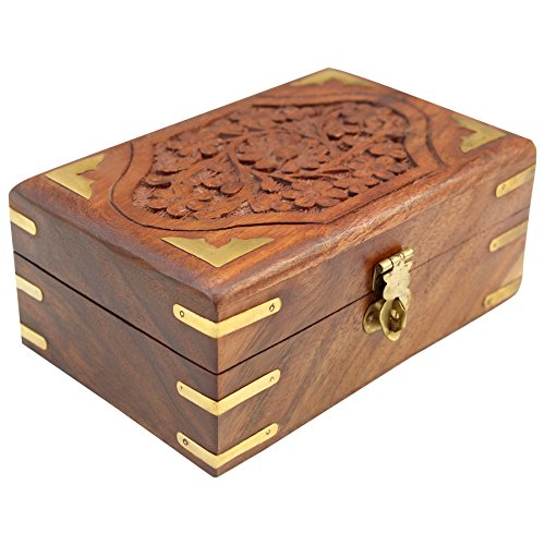 ITOS365 Handmade Wooden Jewellery Box for Women Jewel Organizer Hand Carved Carvings Gift Items, 6 x 4 inches