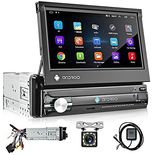 Hikity 1 DIN Android Radio De Coche con GPS Navegación Bluetooth 7 Pulgadas Plegable Pantalla Táctil Estéreo De Coche FM Radio con WiFi Enlace De Espejo + Cámara de Visión Trasera