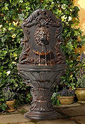 """Lamps Plus Acanthus Antiqued Outdoor Wall Water Fountain with LED Light 50"""" Floor Imperial Lion for Garden Yard - John Timberland"""