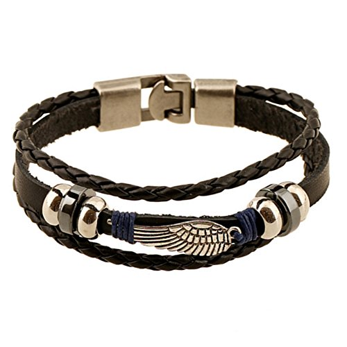 Demarkt Pulsera de piel para hombre y mujer, diseño retro con alas de cachorro, estilo exótico tejido a mano