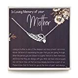 RareLove Sympathy Gifts for Loss of Mother,Bereavement Condolence Gifts,Remembrance Gifts,925 Sterling Silver Angel Wing Heart Pendant Necklace,Sorry for Your Loss Gift Memorial Gifts