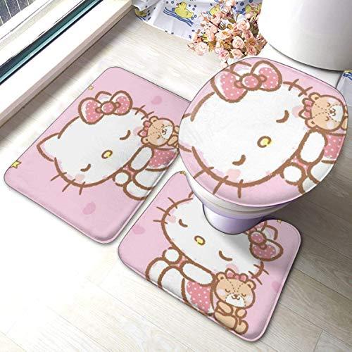 Hello Kitty Badezimmer Anti-Rutsch-Polster Rutschfester Badteppich Bodenmatte Teppich 3 Sätze - Bodenmatte + U-förmiges Pad + Ein O-förmiger Bezug, waschbare Matten für die Dusche zu Hause