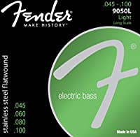 Fender エレキベース弦 Stainless 9050's Bass Strings, Stainless Steel Flatwound, 9050L .045-.100 Gauges, (4) 739050403
