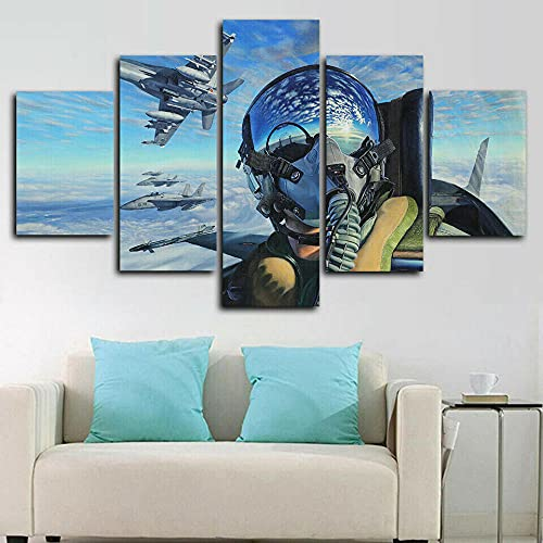 VYQDTNR - 5 Panel Canvas Framed Wall Art Air Force Aircraft Pilote Picture Poster Modern Artwork Wall Decor for Living Room Bedroom Kitchen Office Home Decoration Ready to Hang