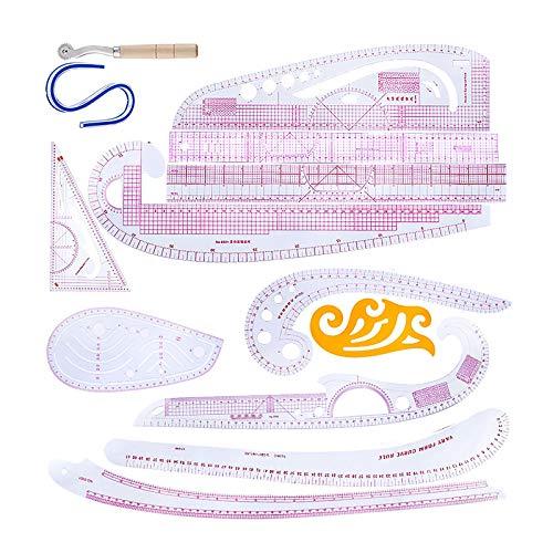 LTXDJ Regla métrica francesa DIY herramientas de costura, Profesional accesorios de regla y guías Kit para diseñadores y sastres 13 para costura patrón de costura DIY ropa