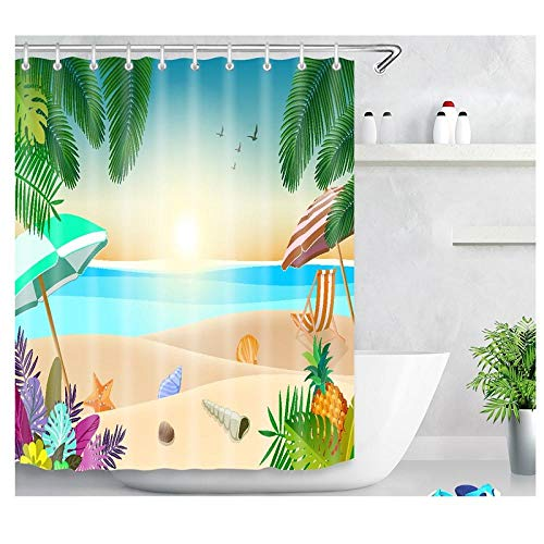 DLSM Vacaciones en la Playa Dibujos Animados patrón Creativo Moderno Saludable Anti-Moho sin ponche baño Cortina de Ducha-El 180x180cm Poliéster Cortinas de Baño Decorativas Impermeable