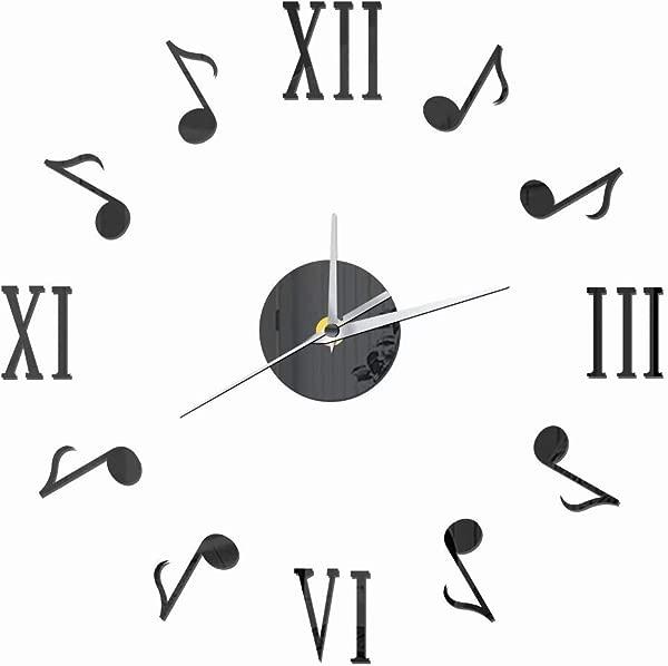 FlorLife 无框 DIY 音乐挂钟罗马数字背胶现代墙艺贴纸静音石英钟家居装饰品客厅卧室黑色