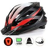 Shinmax Bike Helmet Men/Women, Bicycle Helmet CPSC Standard with USB Charging Light&Detachable Visor&Carrying Bag&Reflective Straps Ultralight Cycling Helmet Adjustable Adult Mountain/Road/Biking