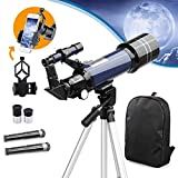 USCAMEL Telescope for Kids and Beginners,70mm Aperture Astronomy Telescopes with Cellphone Adapter Mount,Backpack