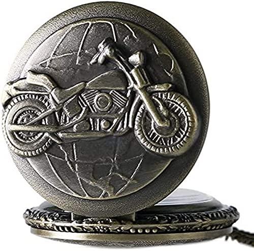 DNGDD Reloj de Bolsillo de Cuarzo con diseño de Motocicleta de Bronce 3D para Hombres con Cadena de Cadena Bicicleta Moto Vintage Colgante