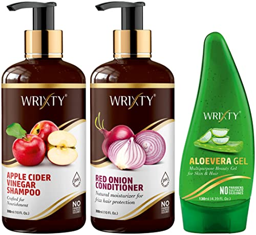 Wrixty Apple Cider Vinegar Shampoo (300ml), Red Onion Conditioner (300ml) and Pure Aloe Vera Gel (130ml) | Best Combo Kit | Smoother & Robust Hair | 3 Items in The Set