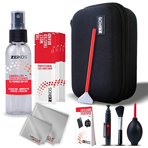 Zeikos Professional Camera Cleaning Kit, Includes Air Blower, Lens Cleaning Pen, Lens Brush, 6-Swabs,1-6X7 and 1-16X16 Miracle Cloth, 50 Sheets Tissue, 2oz Lens Cleaning Spray and Hard Case, 14 Piece
