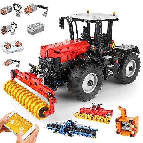 HZYM Tractor de tecnología teledirigido 4 en 1, juego de construcción 2716, bloques de construcción de sujeción, modelo de trituradora de campo RC, compatible con Lego Technic