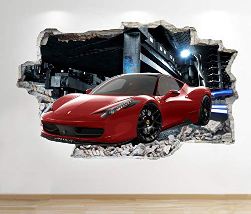 1Stop Graphics Shop FERRARI WALL STICKER 3D LOOK - BOYS KIDS BEDROOM SUPERCAR WALL DECAL Z544 Size: Large