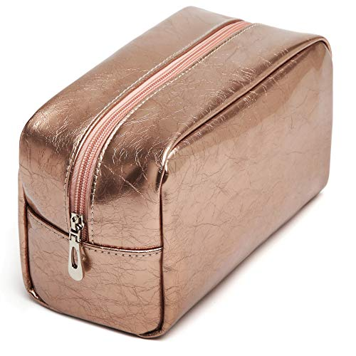 Rose Gold Makeup Bag, iSPECLE PU Leather Small Cosmetic Bags Pouch for Women Girls