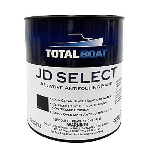 TotalBoat JD Select Ablative Antifouling Bottom Paint for Fiberglass, Wood and Steel Boats (Black, Quart)