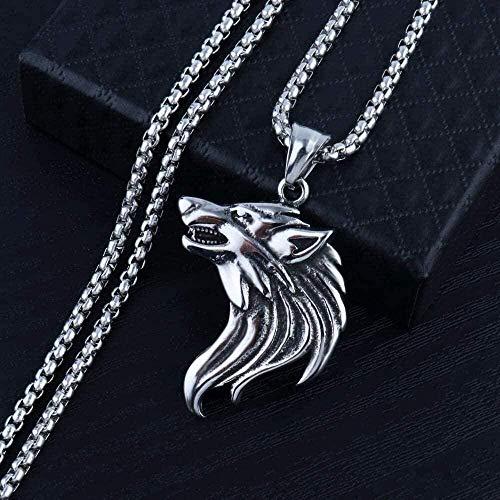 MNMXW Collar Wen, Collar con Colgante de Lobo con Cadena de Acero Inoxidable 316l para Hombres, Collar con Colgante de joyería de Animales Masculinos, Regalo para niñas y niños