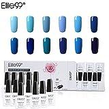 Elite99 Smalto Semipermanente per Unghie in Gel UV LED 12pcs Kit Ricostruzione per Unghie Colore Blu Smalti Semipermanenti Soakoff - Gift set 010