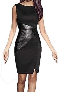 Women O-neck Sleeveless Bodycon Dress, Ladies Solid Slim Sexy Leather Mini Short Dress