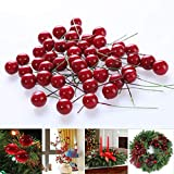 Starworld 30 Pieces Christmas Red Berries, DIY Artificial Fruit Berry Holly Flower Branch Wreath Craft Decoration