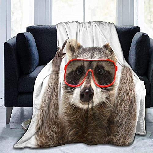 Retrato Funny Raccoon Gafas de Sol Rock Franela Fleece Manta 60'x50' Ultra Soft Cozy Warm Throw Manta Ligera Manta de Microfibra para el hogar