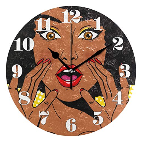 GOSMAO 25cm (9.8') Redondo Reloj de Pared Silencioso No Tick Tack Ruido Reloj de Pared Mujer Africana