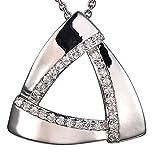 Vero LeBrand Colgante pequeño con Piedras y Cadena 40cm de Plata Esterlina Silver 925 para Mujer Triángulo del Amor (circonita)