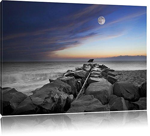 Stenen muur aan de kustFoto Canvas | Maat: 120x80 cm | Wanddecoraties | Kunstdruk | Volledig gemonteerd