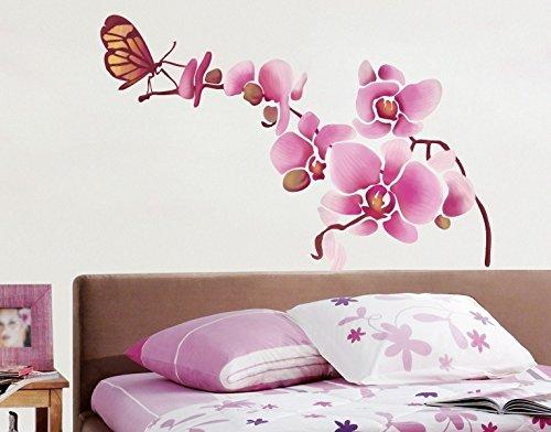 Klebefieber Wandsticker Orchidee mit Schmetterling B x H: 40cm x 38cm