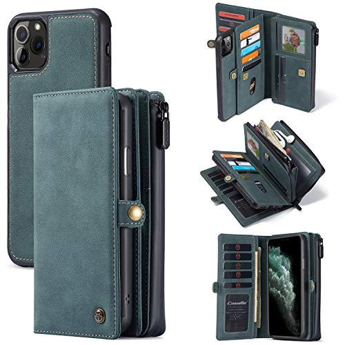 iPhone 11 Pro Max Wallet Case, XRPow [2 in 1 Detachable Magnetic] [Vegan Leather] Folio Card Pocket Clutch Case for iPhone 11 Pro Max (6.5Inch) Slim Shock Protection Flip Cover - Blue Green