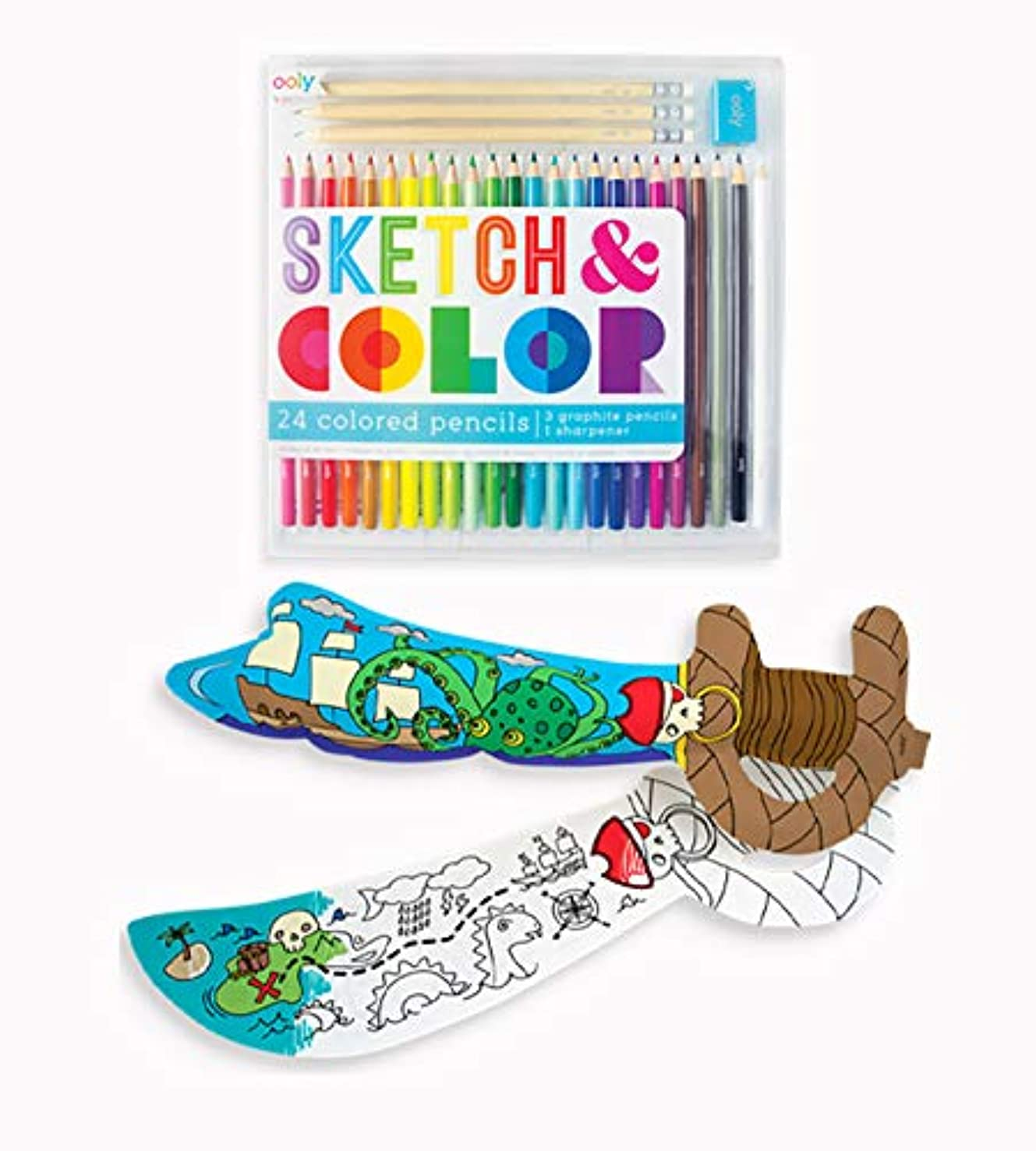 OOLY, Sketch & Color with Colorable Balloons Bundle Pack Set - Mighty Swords, Colored Pencils, Graphite Pencils, & Sharpener