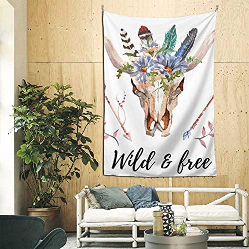 N\A Cabeza de Toro Decorativa de Montaje en Pared con Flores y Plumas, Tapiz de Pared al Aire Libre, Arte de Pared para apartamento, Dormitorio, telón de Fondo, decoración del hogar