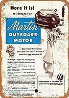 マーティン船外機、ブリキサインヴィンテージ面白い生き物鉄の絵画金属板ノベルティ